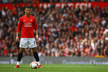 MANCHESTER, ENGLAND - MAY 10:  Cristiano Ronaldo of Manchester United lines up a free kick during the Barclays Premier League match between Manchester United and Manchester City at Old Trafford on May 10, 2009 in Manchester, England.  (Photo by Alex Lives