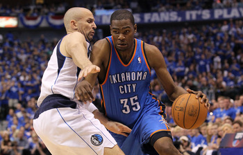 DALLAS, TX - MAY 19:  Kevin Durant #35 of the Oklahoma City Thunder drives on Jason Kidd #2 of the Dallas Mavericks in Game Two of the Western Conference Finals during the 2011 NBA Playoffs at American Airlines Center on May 19, 2011 in Dallas, Texas. NOT
