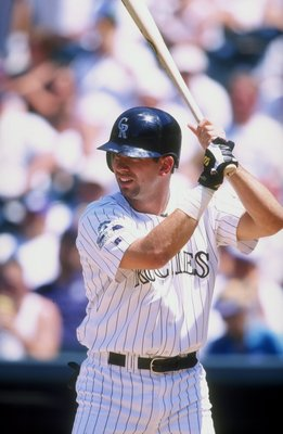 28 Jun 1998:  Todd Helton #17 of the Colorado Rockies in action during an interleague game against the Oakland Athletics at Coors Field in Denver, Colorado. The Rockies defeated the Athletics 11-10. Mandatory Credit: Brian Bahr  /Allsport