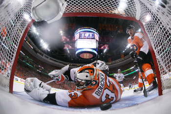 PHILADELPHIA, PA - APRIL 26:  Brian Boucher #33 of the Philadelphia Flyers fails to block a third period goal by Tyler Myers #57 of the Buffalo Sabres in Game Seven of the Eastern Conference Quarterfinals during the 2011 NHL Stanley Cup Playoffs at Wells