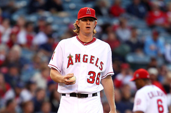 ANAHEIM, CA - MAY 23:  Jered Weaver #36 of the Los Angeles Angels of Anaheim pitches in the second inning against the Oakland Athletics during the game at Angel Stadium of Anaheim on May 23, 2011 in Anaheim, California.  (Photo by Joe Scarnici/Getty Image