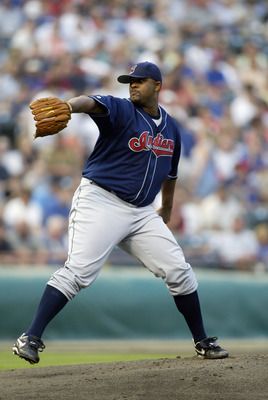 ARLINGTON, TX - MAY 10:  C.C. Sabathia #52 of the Cleveland Indians throws a pitch during the game against the Texas Rangers at the Ballpark in Arlington on May 10, 2003 in Arlington, Texas.  The Indians won 6-4.  (Photo by Ronald Martinez/Getty Images)
