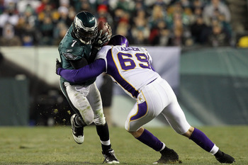PHILADELPHIA, PA - DECEMBER 28: Michael Vick #7 of the Philadelphia Eagles gets sacked by Jared Allen #69 of the Minnesota Vikings in the 4th quarter at Lincoln Financial Field on December 28, 2010 in Philadelphia, Pennsylvania. (Photo by Jim McIsaac/Gett