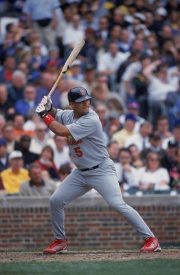7 Jun 2001:  Albert Pujols #5 of the St. Louis Cardinals at bat during the game against the Chicago Cubs at Wrigley Field in Chicago, Illinois.  The Cubs defeated the Cardinals 4-3.Mandatory Credit: Jonathan Daniel  /Allsport