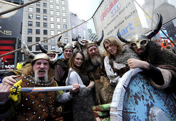 NEW YORK - MARCH 23:  A group of Vikings are photographed aboard Walmart's 40-foot Viking ship modeled after the ships that appear in the new Dreamworks 3D animated feature film 'How To Train Your Dragon' in Times Square on March 23, 2010 in New York City