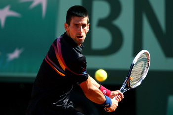 Novak Djokovic at the 2011 French Open.