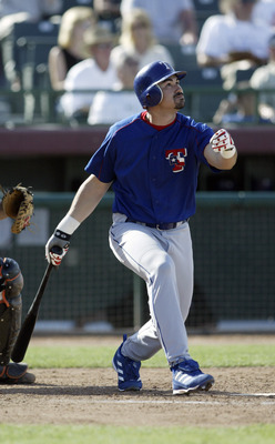 SCOTTSDALE, AZ - MARCH 10:  Infielder Adrian Gonzalez #24 of the Texas Rangers at bat during the Spring Training game against the San Francisco Giants on March 10, 2004 at Scottsdale Stadium in Scottsdale, Arizona. The Rangers won 8-2. (Photo by Jeff Gros