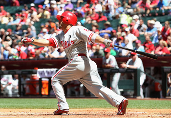 PHOENIX, AZ - APRIL 27:  Shane Victorino #8 of the Philadelphia Phillies hits a solo home run against the Arizona Diamondbacks during the second inning of the Major League Baseball game at Chase Field on April 27, 2011 in Phoenix, Arizona.  (Photo by Chri