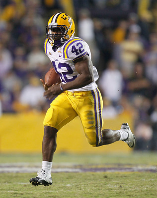 BATON ROUGE, LA - NOVEMBER 20:  Michael Ford #42 of the Louisiana State University Tigers against the Ole Miss Rebels at Tiger Stadium on November 20, 2010 in Baton Rouge, Louisiana.  (Photo by Kevin C. Cox/Getty Images)