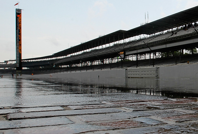 INDIANAPOLIS - MAY 22:  INDIANAPOLIS, IN- MAY 22: The yard of bricks is covered in water after thunder storms delayed the second day of qualifying for the the 95th Indianapolis 500 Mile Race at the Indianapolis Motor Speedway on May 22, 2011 in Indianapol