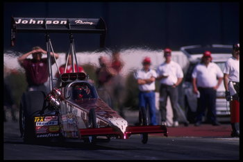 4 Feb 1996:  Blaine Johnson guns his hot rod in competition at the National Hot Rod Association Winternationals at the Pomona Dragway in Pomona, California.  Johnson placed first in the TopFuel racing series.  Mandatory Credit:  Jamie Squire/Allsport