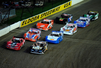ROSSBURG, OH - JUNE 09:  Ryan Newman, driver of the #39 US Army/Tornado's late model Chevrolet, leads the field during the Gillette Fusion ProGlide Prelude to the Dream at Eldora Speedway on June 9, 2010 in Rossburg, Ohio.  (Photo by Rusty Jarrett/Getty I