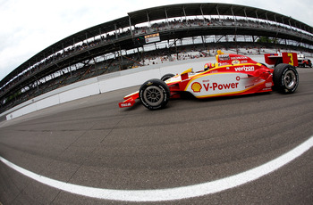 INDIANAPOLIS, IN - MAY 21:  Helio Castroneves drives his #3 Shell V Power/ Pennzoil Ultra Team Penske Dallra Honda during qualifying for the the 95th Indianapolis 500 Mile Race at the Indianapolis Motor Speedway on May 21, 2011 in Indianapolis, Indiana.