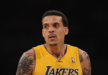 LOS ANGELES, CA - MARCH 31:  Matt Barnes #9 of the Los Angeles Lakers looks to his bench during the game against the Dallas Mavericks at Staples Center on March 31, 2011 in Los Angeles, California.  NOTE TO USER: User expressly acknowledges and agrees tha