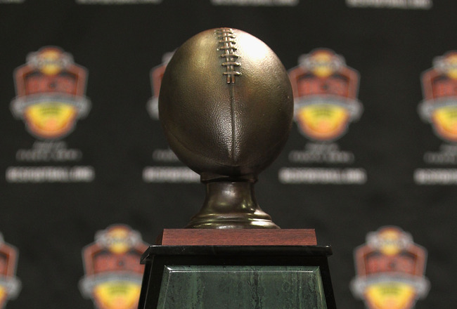 SCOTTSDALE, AZ - JANUARY 11:  Detail of the  Football Writers of America trophy before being presented to head coach Gene Chizik (not pictured) of the Auburn Tigers during a press conference for the Tostitos BCS National Championship Game at the JW Marrio