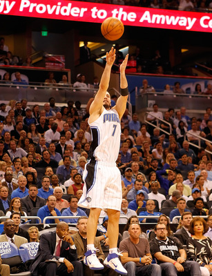 ORLANDO, FL - APRIL 26:  J.J. Redick #7 of the Orlando Magic shoots against the Atlanta Hawks during Game Five of the Eastern Conference Quarterfinals of the 2011 NBA Playoffs on April 26, 2011 at the Amway Arena in Orlando, Florida.  NOTE TO USER: User e