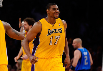 LOS ANGELES, CA - MAY 04:  Andrew Bynum #17 of the Los Angeles Lakers reacts in the first half while taking on the Dallas Mavericks in Game Two of the Western Conference Semifinals in the 2011 NBA Playoffs at Staples Center on May 4, 2011 in Los Angeles,
