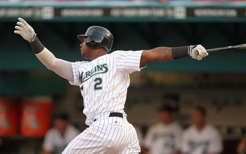 MIAMI GARDENS, FL - MAY 18: Hanley Ramirez #2 of the Florida Marlins hits a solo home run during a game against the Chicago Cubs at Sun Life Stadium on May 18, 2011 in Miami Gardens, Florida.  (Photo by Mike Ehrmann/Getty Images)