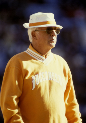 John McKay, first coach of the Tampa Bay Buccaneers and the father of Bucs General Manager Rich McKay, on the sidelines at a Bucs game in 1981.  (Photo by Al Messerschmidt/Getty Images)