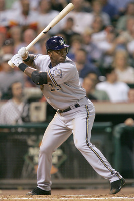 HOUSTON - APRIL 19: Rickie Weeks #23 of the Milwaukee Brewers steps into the swing during the game against the Houston Astros on April 19, 2006 at Minute Maid Park in Houston, Texas. (Photo by Ronald Martinez/Getty Images)