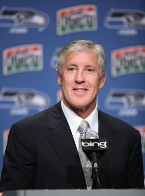 RENTON, WA - JANUARY 12:  Pete Carroll answers questions at a press conference announcing his hiring as the new head coach of the Seattle Seahawks on January 12, 2010 at the Seahawks training facility in Renton, Washington. (Photo by Otto Greule Jr/Getty