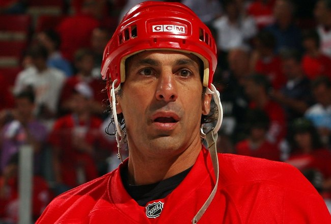 DETROIT - JUNE 12:  Chris Chelios #24 of the Detroit Red Wings warms up before playing against the Pittsburgh Penguins in Game Seven of the 2009 NHL Stanley Cup Finals at Joe Louis Arena on June 12, 2009 in Detroit, Michigan.  (Photo by Jim McIsaac/Getty
