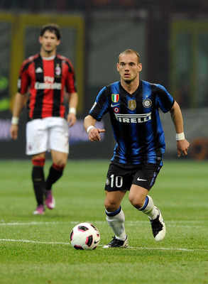 MILAN, ITALY - APRIL 02:  Wesley Sneijder of FC Inter Milan during the Serie A match between AC Milan and FC Internazionale Milano at Stadio Giuseppe Meazza on April 2, 2011 in Milan, Italy.  (Photo by Claudio Villa/Getty Images)