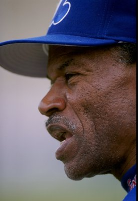 28 Feb 1998:  Tommy Harper #1 of the Montreal Expos looks on during a spring training game against the St. Louis Cardinals at the Roger Dean Stadium in Jupiter, Florida. The Expos defeated the Cardinals 5-0. Mandatory Credit: Matthew Stockman  /Allsport