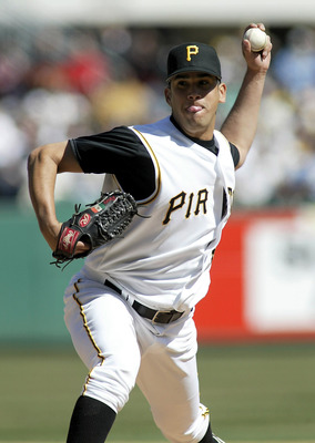 PITTSBURGH - APRIL 4:  Oliver Perez #48 of the Pittsburgh Pirates pitches against the Milwaukee Brewers April 4, 2005 at PNC Park in Pittsburgh, Pennsylvania.  (Photo by Rick Stewart/Getty Images)