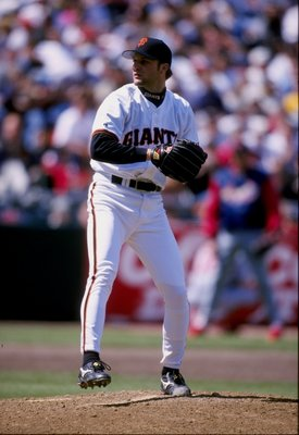 11 Apr 1998:  Pitcher Shawn Estes of the San Francisco Giants in action during a game against the St. Louis Giants at Three Com Park in San Francisco, California. The Cardinals defeated the Giants 7-2. Mandatory Credit: Jed Jacobsohn  /Allsport