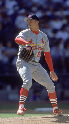 8 Apr 2001:  Rick Ankiel #66 of the St. Louis Cardinals winds back to pitch the ball during the game against the Arizona Diamondbacks at the Bank One Ballpark in Phoenix, Arizona. The Cardinals defeated the Diamondbacks 9-4.Mandatory Credit: Todd Warshaw