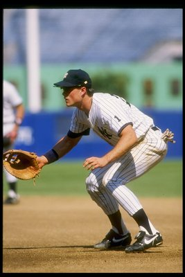 1990:  Kevin Maas of the New York Yankees in action during a game at Yankee Stadium in Bronx, New York.  Mandatory Credit: Scott Halleran  /Allsport