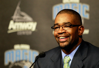 ORLANDO, FL - DECEMBER 18:  Orlando Magic General Manager Otis Smith speaks to the media regarding the aquisition of Gilbert Arenas from the Washington Wizards, Jason Richardson, Hedo Turkoglu, and Earl Clark from the Phoenix Suns at Amway Arena on Decemb