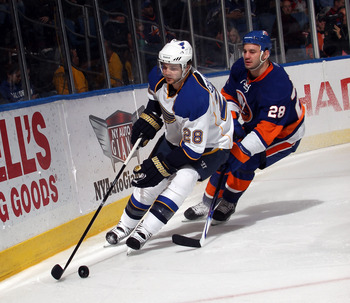 UNIONDALE, NY - MARCH 05: Carlo Colaiacovo #28 of the St. Louis Blues skates against the New York Islanders at the Nassau Coliseum on March 5, 2011 in Uniondale, New York.  (Photo by Bruce Bennett/Getty Images)