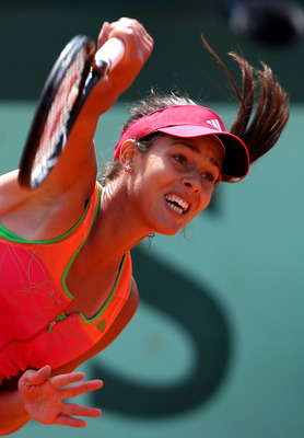 PARIS, FRANCE - MAY 24:  Ana Ivanovic of Serbia serves during the women's singles round one match between Johanna Larsson of Sweden and Ana Ivanovic of Serbia on day three of the French Open at Roland Garros on May 24, 2011 in Paris, France.  (Photo by Cl