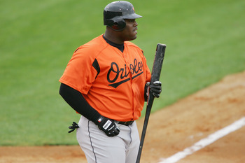 JUPITER, FL - MARCH 3 :  Indfielder Walter Young #75 of the Baltimore Orioles looks on against the Florida Marlins during a spring training game on March 3, 2005 at Roger Dean Stadium in Jupiter, Florida. The Baltimore Orioles defeated the Florida Marlins