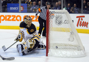 TORONTO - NOVEMBER 20:  Rask Tuukka #40 of the Boston Bruins looks back at the puck as he gives up a goal in his NHL debut against the Toronto Maple Leafs during the first period on November 20, 2007 at the Air Canada Centre in Toronto, Ontario, Canada.