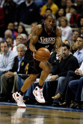 AUBURN HILLS, MI - APRIL 29:  Andre Iguodala #9 of the Philadelphia 76ers drives the ball upcourt in Game Five of the Eastern Conference Quarterfinals against the Detroit Pistons during the 2008 NBA Playoffs at the Palace of Auburn Hills on April 29, 2008