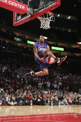 HOUSTON - FEBRUARY 18:  Andre Iguodala #9 of the Philadelphia 76ers moves the ball between his legs in the Sprite Rising Stars Slam Dunk competition during NBA All-Star Weekend at the Toyota Center on February 18, 2006 in Houston, Texas.  NOTE TO USER: Us
