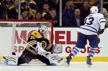 BOSTON, MA - MARCH 31:  Nazem Kadri #43 of the Toronto Maple Leafs shoots the game winner past Tim Thomas #30 of the Boston Bruins on March 31, 2011 at the TD Garden in Boston, Massachusetts. The Toronto Maple Leafs defeated the Boston Bruins 4-3 in an ov