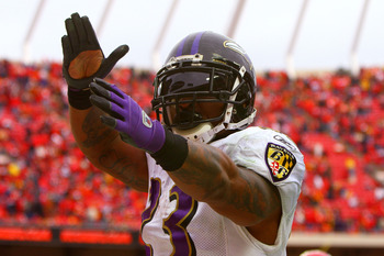 KANSAS CITY, MO - JANUARY 09:  Running back Willis McGahee #23 of the Baltimore Ravens celebrates after scoring a touchdown in the fourth quarter of the 2011 AFC wild card playoff game against the Kansas City Chiefs at Arrowhead Stadium on January 9, 2011