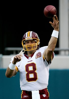 JACKSONVILLE, FL - AUGUST 30:  Mark Brunell #8 of the Washington Redskins warms up in a preseason game against the Jacksonville Jaguars on August 30, 2007 at Alltell Stadium in Jacksonville, Florida.  The Jaguars won 31-14.  (Photo by Sam Greenwood/Getty