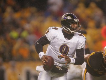 PITTSBURGH - NOVEMBER 5:  Steve McNair #9 of the Baltimore Ravens drops back against the Pittsburgh Steelers on November 5, 2007 at Heinz Field in Pittsburgh, Pennsylvania. (Photo by Chris McGrath/Getty Images)