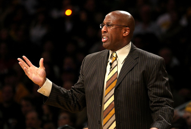 LOS ANGELES - JANUARY 27:   Head coach Mike Brown of the Cleveland Cavaliers gestures during the game with the Los Angeles Lakers on January 27, 2008 at Staples Center in Los Angeles, California.  The cavaliers won 98-95.  NOTE TO USER: User expressly ack