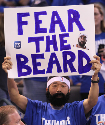 OKLAHOMA CITY, OK - MAY 21:  An Oklahoma City Thunder fan holds up a sign referring to the beard of James Harden #13 of the Thunder before the Thunder take on the Dallas Mavericks in Game Three of the Western Conference Finals during the 2011 NBA Playoffs