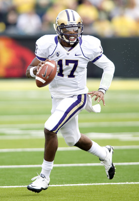 EUGENE, OR - NOVEMBER 6: Quarterback Keith Price #17 of the Washington Huskies scrambles out of the pocket in the third quarter of the game against the Oregon Ducks at Autzen Stadium on November 6, 2010 in Eugene, Oregon. The Ducks won the game 53-16. (Ph