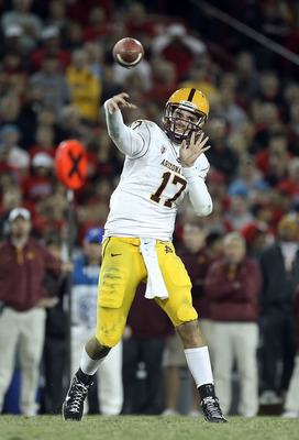 TUCSON, AZ - DECEMBER 02:  Quarterback Brock Osweiler #17 of the Arizona State Sun Devils throws a pass during the college football game against the Arizona Wildcats at Arizona Stadium on December 2, 2010 in Tucson, Arizona. The Sun Devils defeated the Wi
