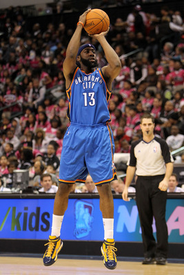 DALLAS - FEBRUARY 12:  James Harden #13 of the Rookie team shoots against the Sophomore team during the first half of the T-Mobile Rookie Challenge & Youth Jam part of 2010 NBA All-Star Weekend at American Airlines Center on February 12, 2010 in Dallas, T