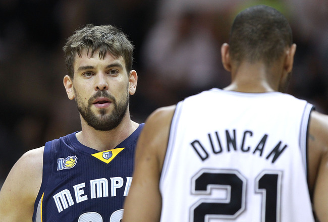 SAN ANTONIO, TX - APRIL 27:  Marc Gasol #33 of the Memphis Grizzlies looks on against Tim Duncan #21 of the San Antionio Spurs in Game Five of the Western Conference Quarterfinals in the 2011 NBA Playoffs on April 27, 2011 at AT&T Center in San Antonio, T