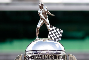 INDIANAPOLIS - JULY 25:  Detail of the Borg-Warner Trophy is displayed in front of the Pagoda after the NASCAR Sprint Cup Series Brickyard 400 at Indianapolis Motor Speedway on July 25, 2010 in Indianapolis, Indiana.  (Photo by Tom Pennington/Getty Images